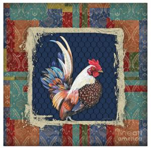 Artist Jean Plout Debuts New Series Damask Rooster